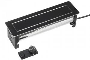 VersaTurn 3x 230V, 2xUSB +5V, fekete üveg