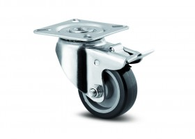 TENTE Forgó kerék 1475 fék, gumi futófelülettel, átmérő 50 mm