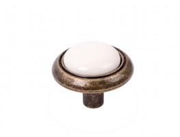 Gomb Gipa antik arany/fehér porcelán + csavarok