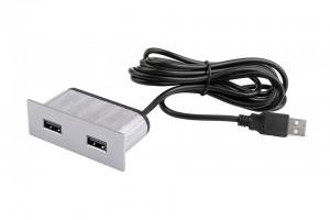 VersaPick, 2x USB, téglalap, nemesacél, spiáter