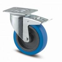 TENTE forgó kerék 3477 kék gumi futófelület,átmérő 100 mm,fékkel